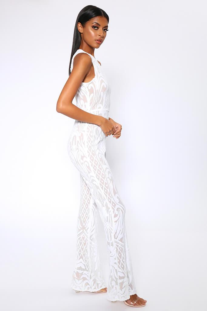 White Sequin Mesh Wide Leg Jumpsuit view 3