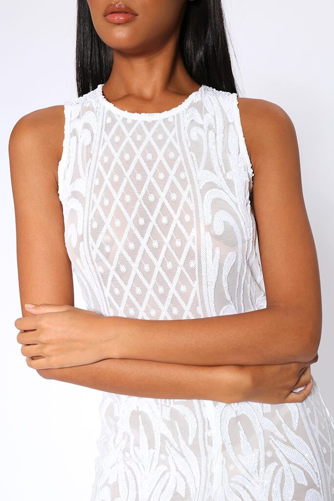 White Sequin Mesh Wide Leg Jumpsuit view 4