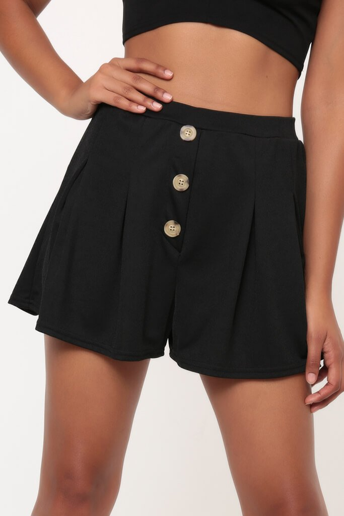 Black Button Detail Pleated Shorts view 4