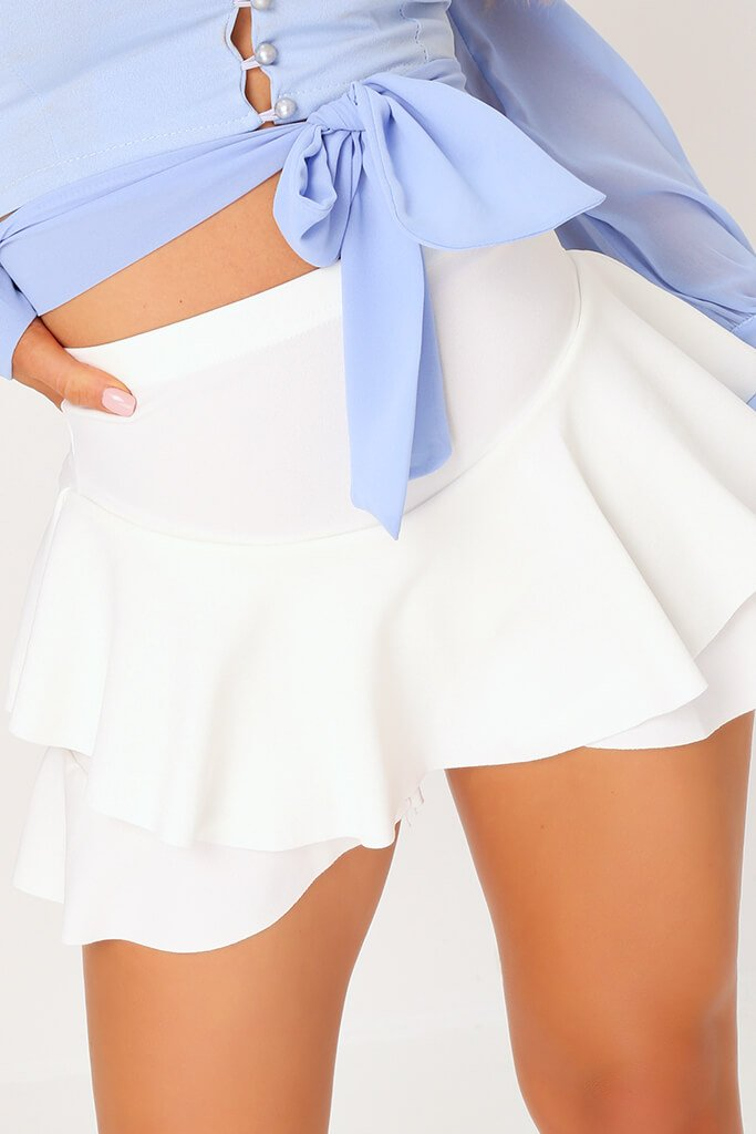 White Ruffle Skorts view 4