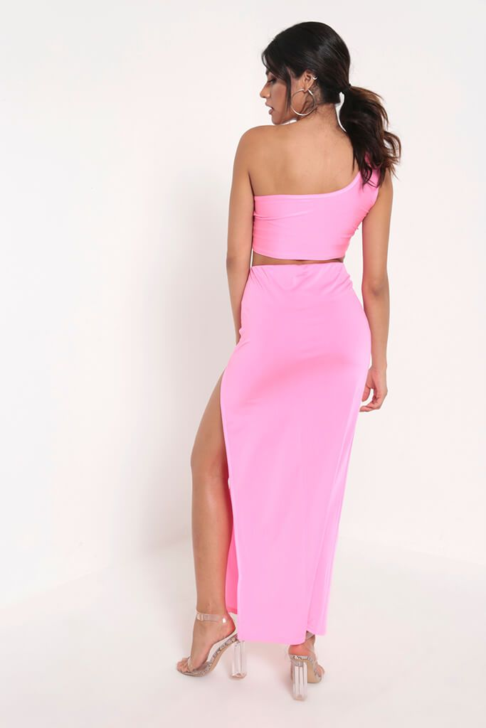 Neon Pink Side Split Maxi Skirt view 5
