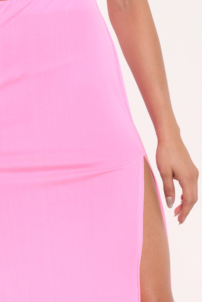 Neon Pink Side Split Maxi Skirt view 4