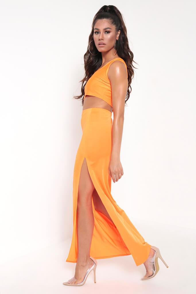 Neon Orange Side Split Maxi Skirt