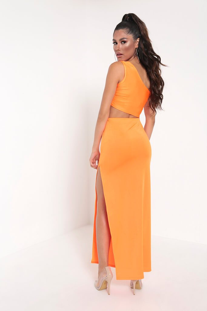 Neon Orange Side Split Maxi Skirt view 5