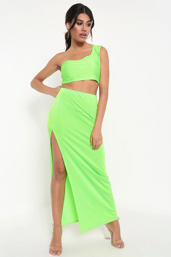 Neon Green Neon Side Split Maxi Skirt view main view