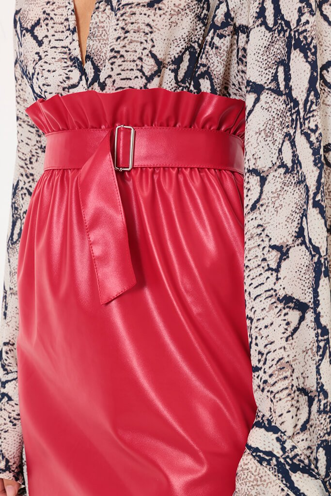 Red Paper Bag Faux Leather Mini Skirt view 3