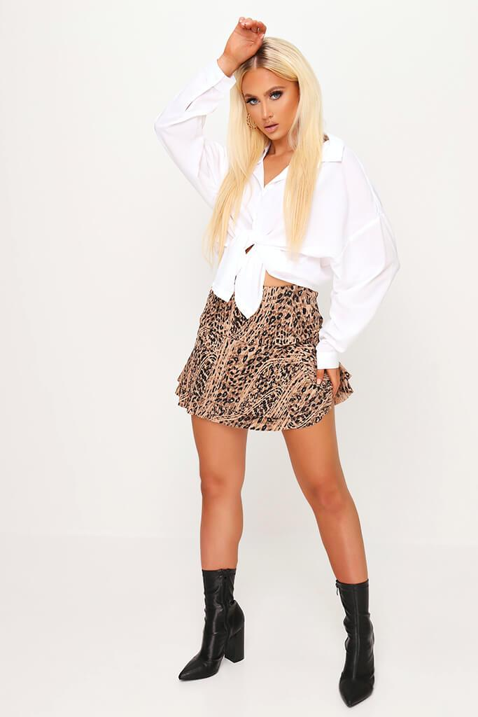 Leopard Print Fit & Flare Mini Skirt view 3