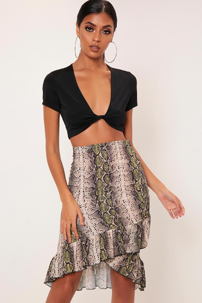 Black/Neutral Snake Print Wrap Skirt With Frill Hem view main view