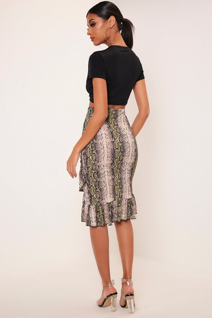 Black/Neutral Snake Print Wrap Skirt With Frill Hem view 5