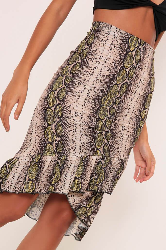 Black/Neutral Snake Print Wrap Skirt With Frill Hem view 4