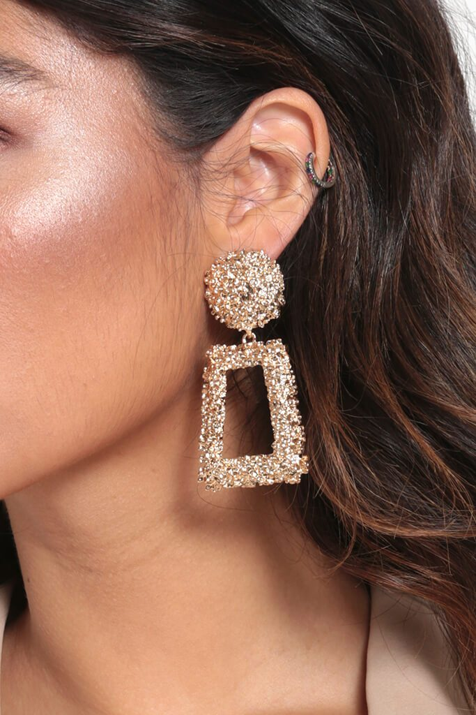 Gold Drop Shape Earrings