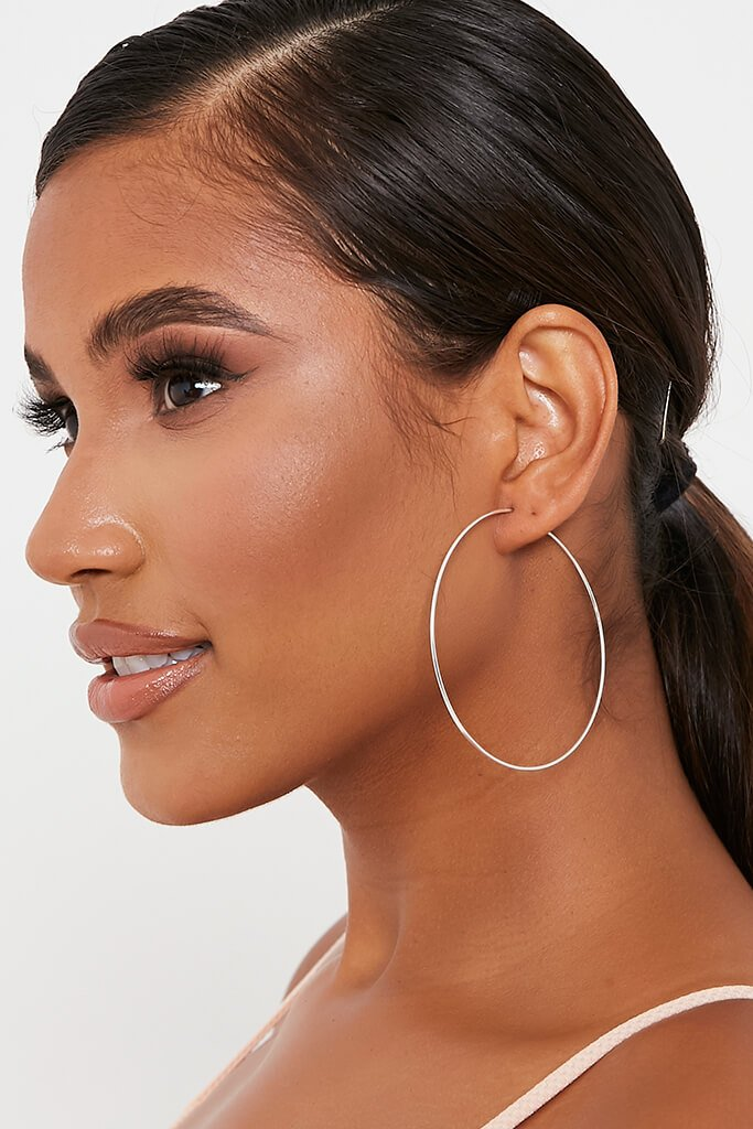 Silver Hoop Earrings view 4