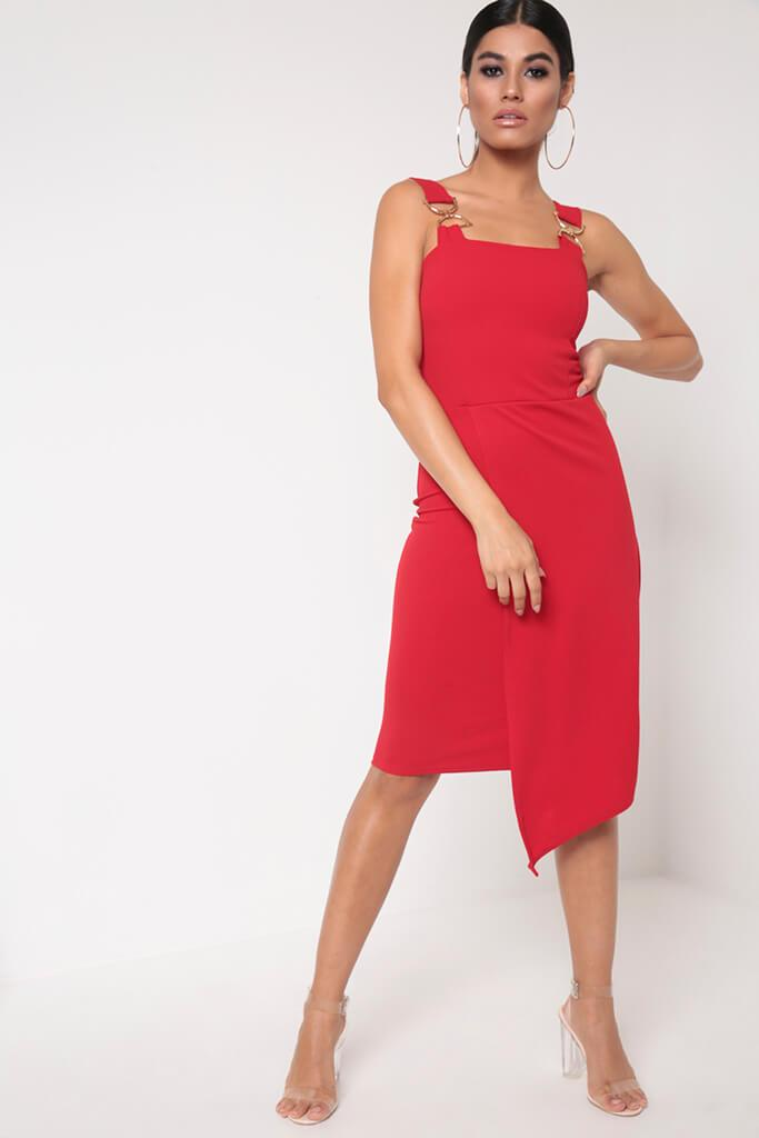 Red Buckle Detail Wrap Midi Dress
