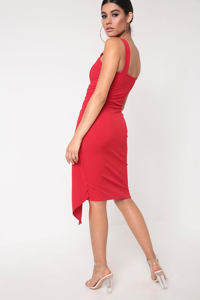 Red Buckle Detail Wrap Midi Dress view 5