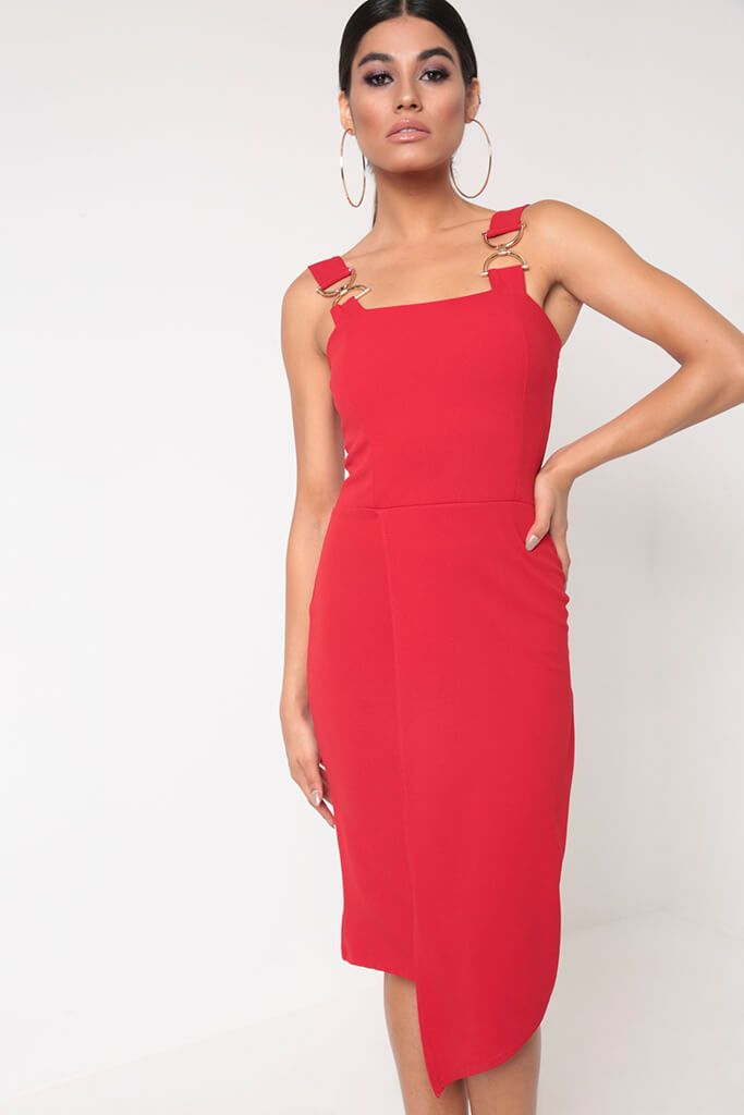 Red Buckle Detail Wrap Midi Dress view 2