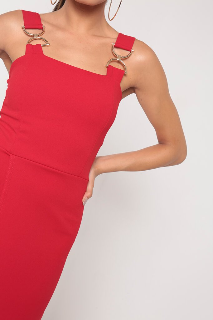 Red Buckle Detail Wrap Midi Dress view 4