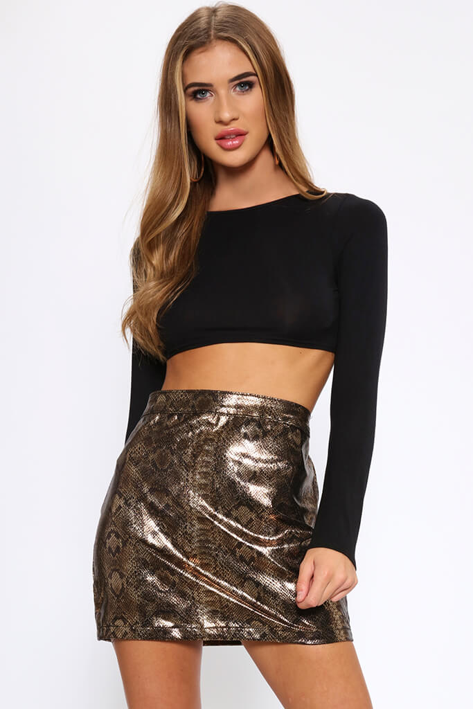 Snake Print Coated Mini Skirt