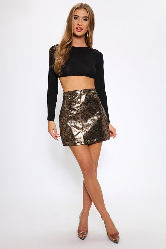 Snake Print Coated Mini Skirt   view 2