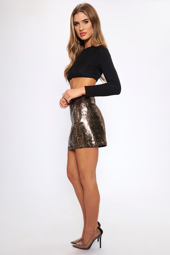 Snake Print Coated Mini Skirt   view 3