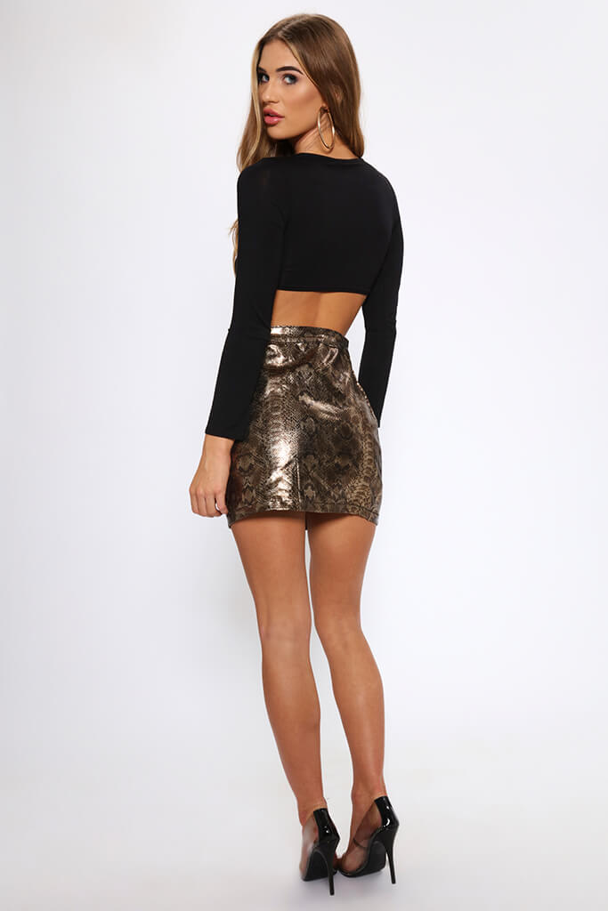 Snake Print Coated Mini Skirt   view 5