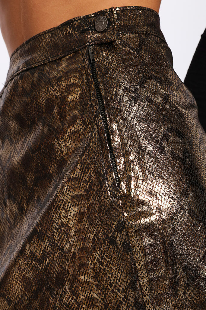 Snake Print Coated Mini Skirt   view 4