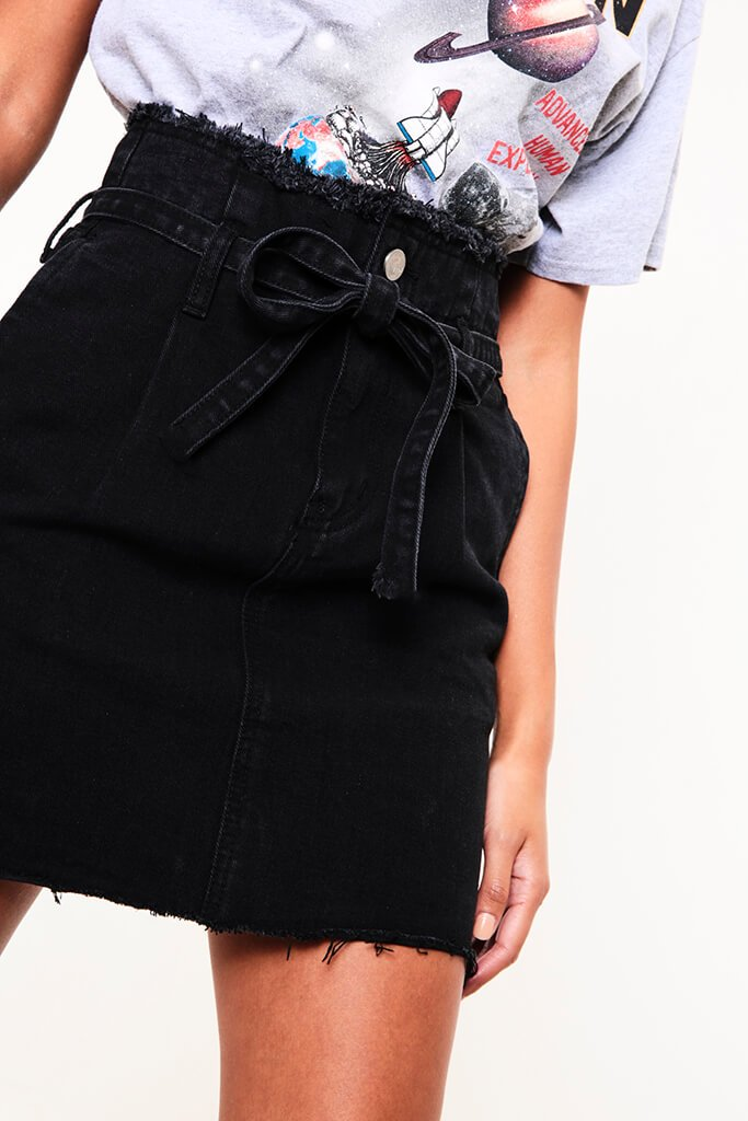 Black Tie Waist Denim Mini Skirt view 3
