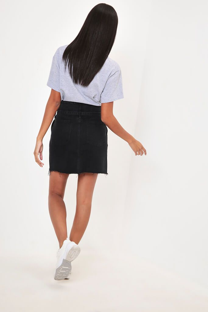 Black Tie Waist Denim Mini Skirt view 5