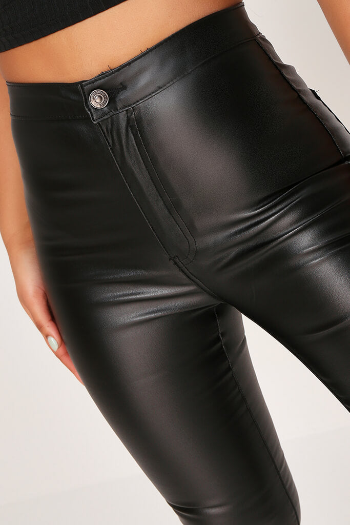 Black High Waisted Coated Skinny Jeans view 4