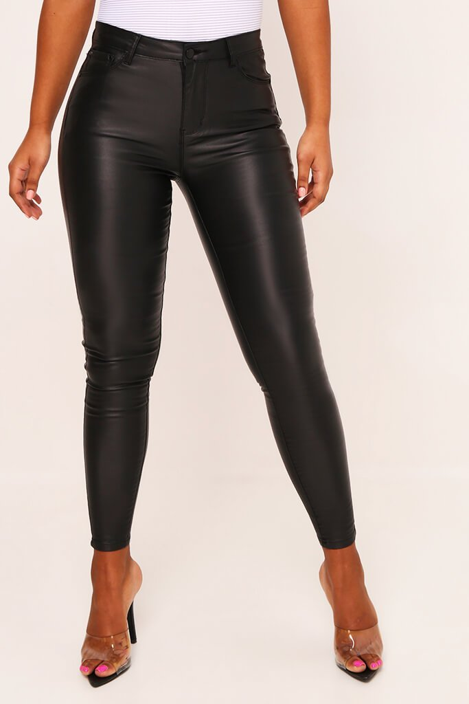 Black Five Pocket Coated Skinny Jeans view 3