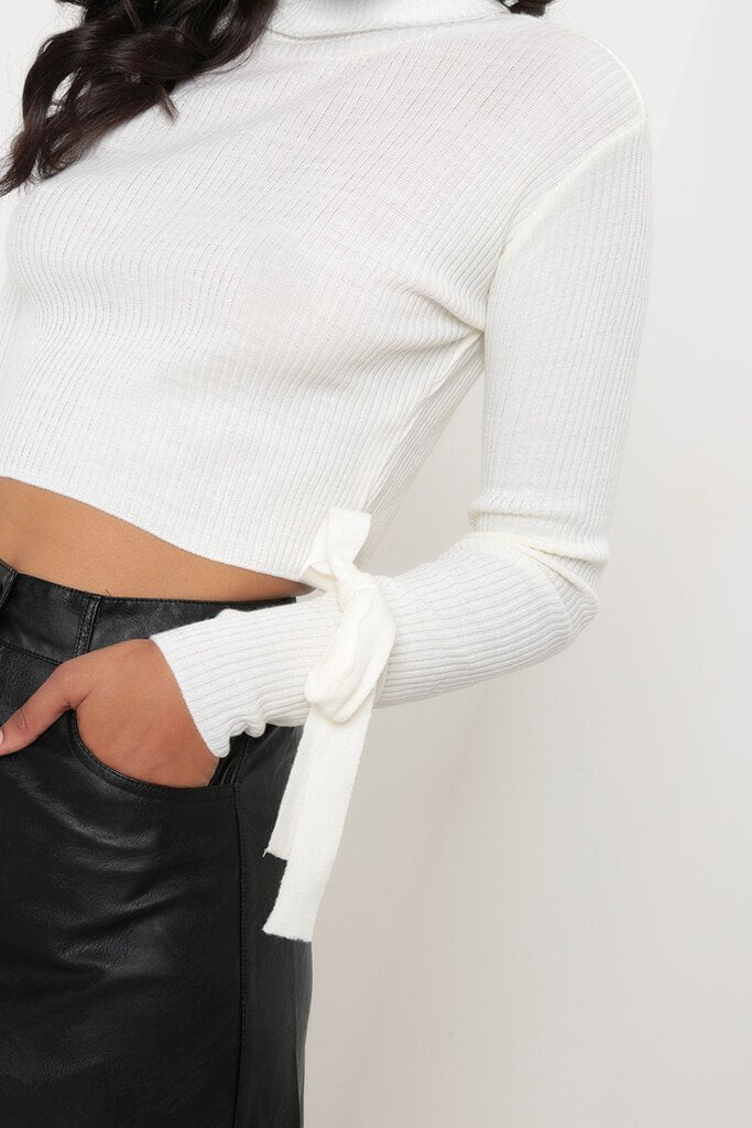 Cream Tie Sleeve Polo Neck Cropped Jumper view 4