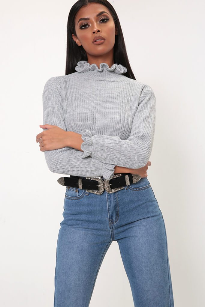 Grey Ruffle Hem Cropped Jumper