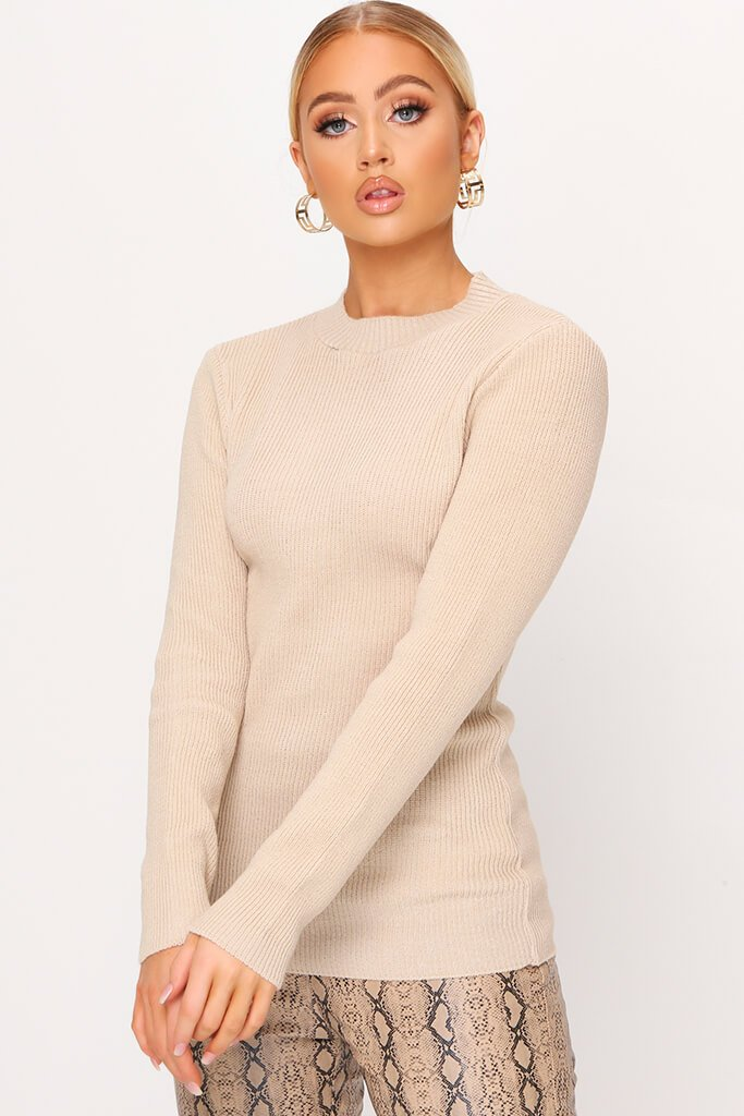 Camel Ribbed Long Sleeve Slim Fit Jumper view main view