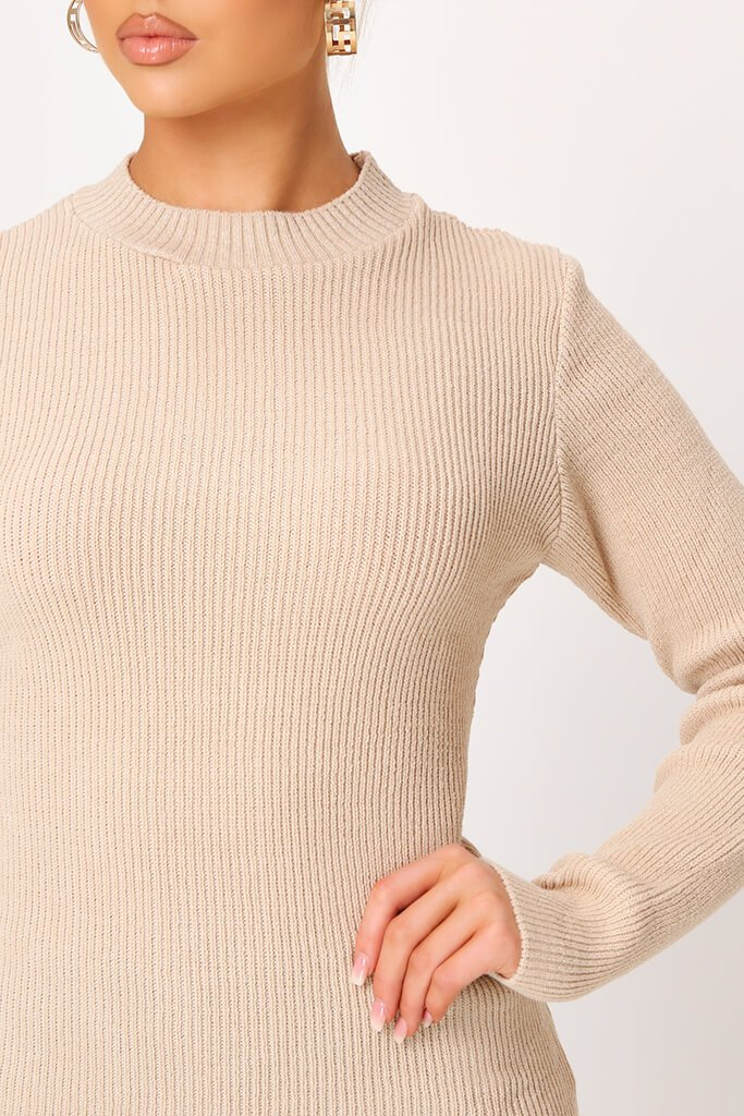 Camel Ribbed Long Sleeve Slim Fit Jumper view 3