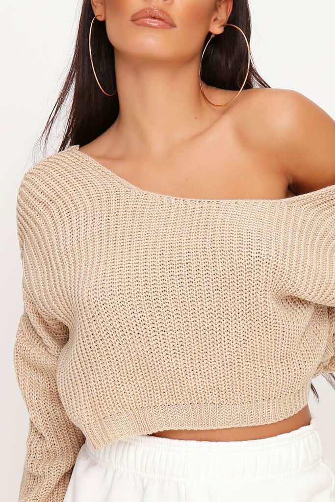 Stone Knitted V Back Cropped Jumper view 4