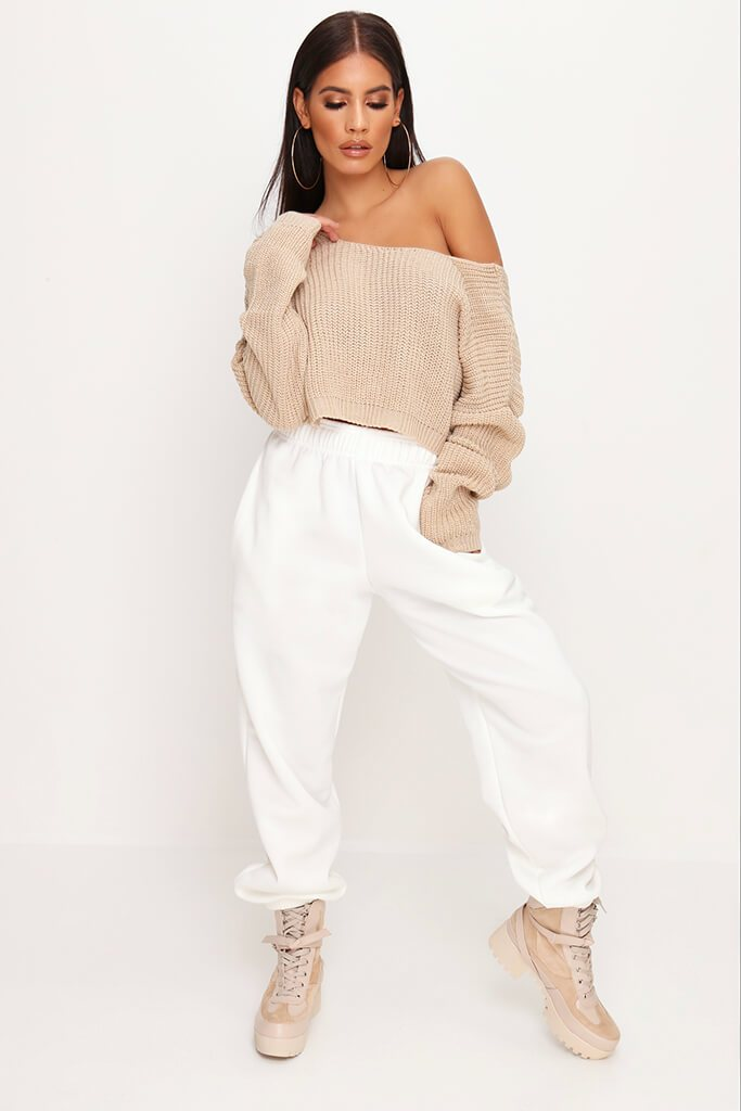 Stone Knitted V Back Cropped Jumper view 2