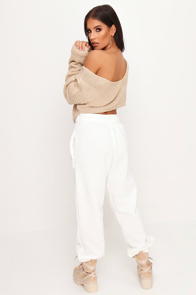 Stone Knitted V Back Cropped Jumper view 5