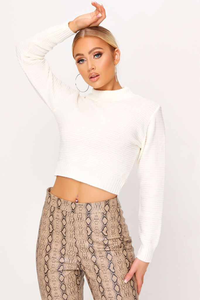 Cream High Neck Rib Knit Cropped Jumper