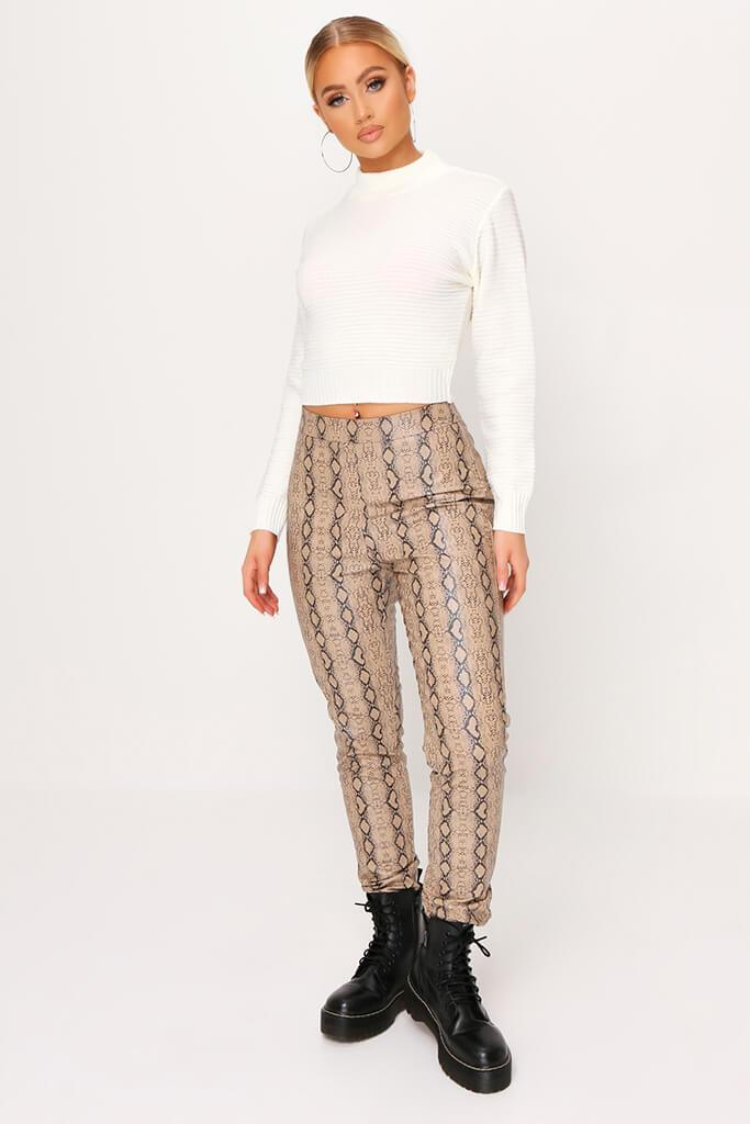 Cream High Neck Rib Knit Cropped Jumper view 2