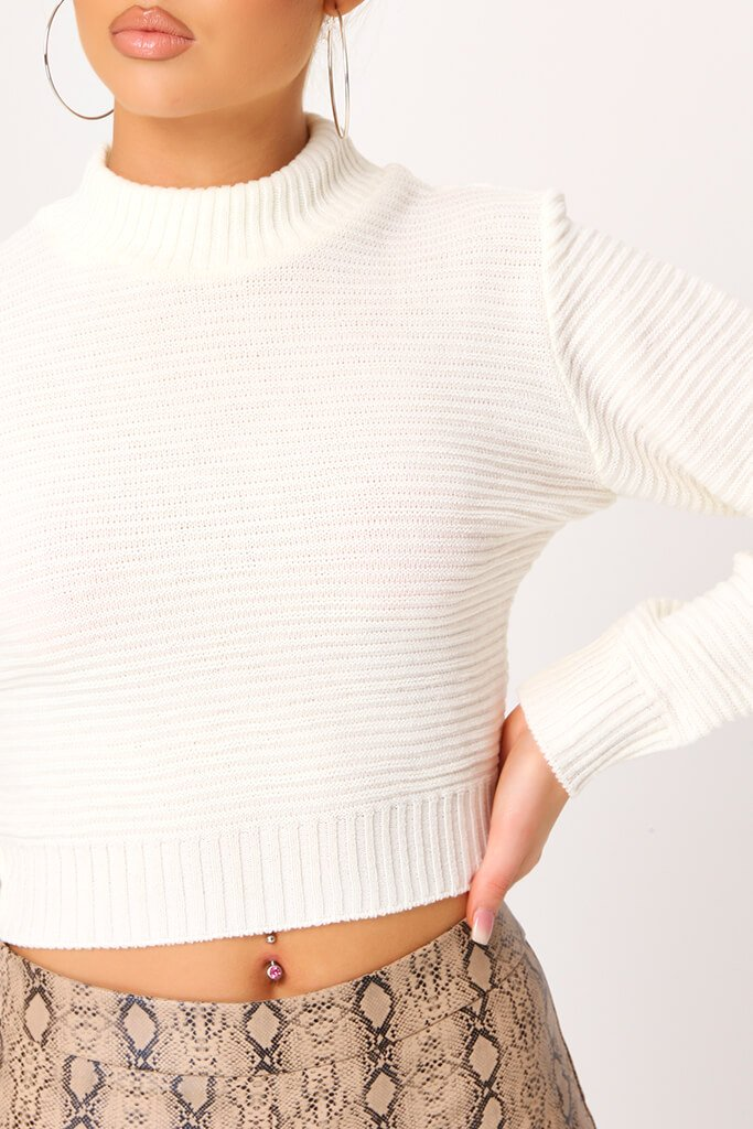 Cream High Neck Rib Knit Cropped Jumper view 4