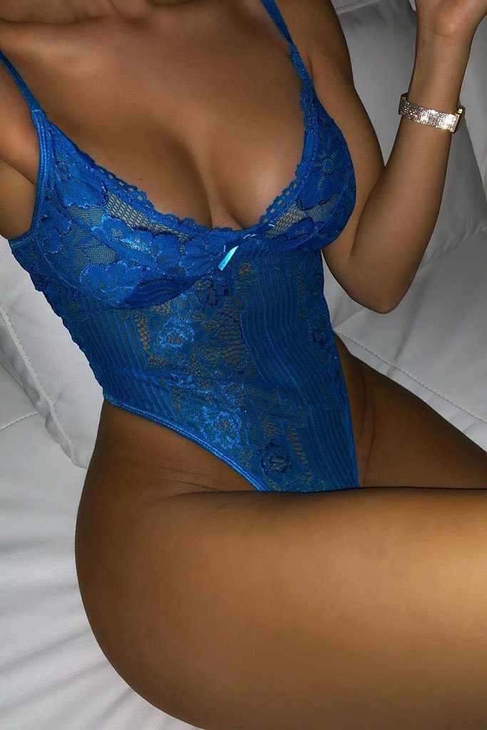 Cobalt Floral Striped Lace Bodysuit