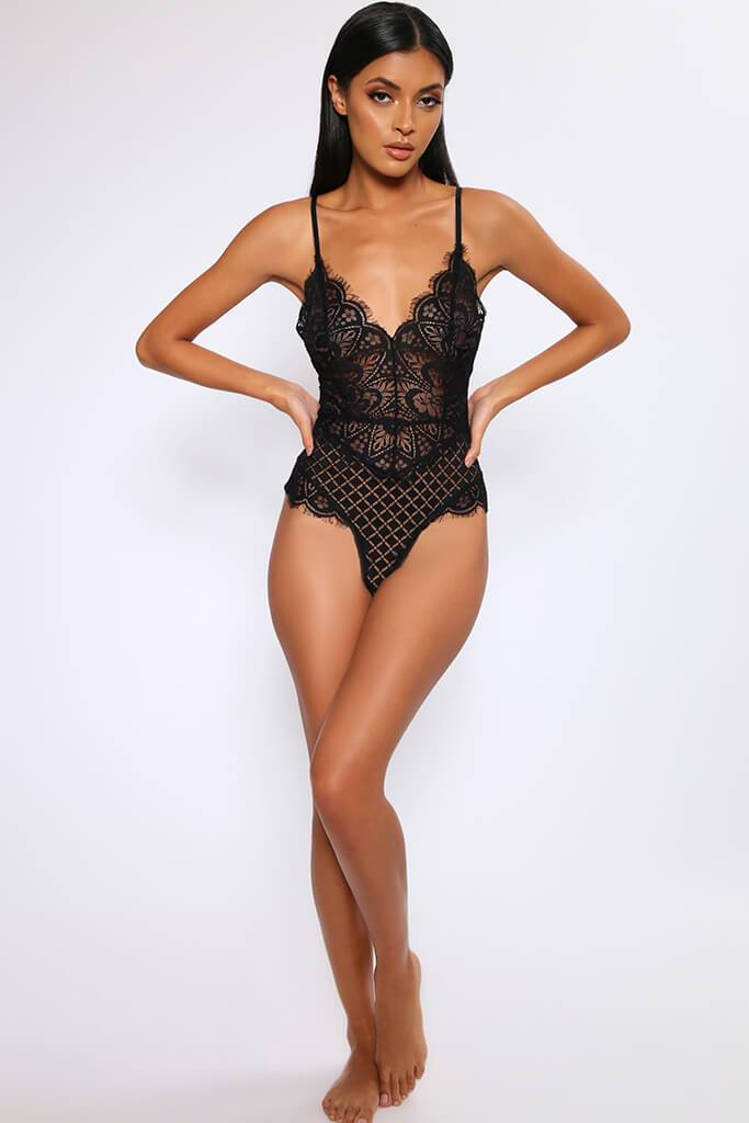 Black Floral & Geo Sheer Lace Plunge Bodysuit view 2