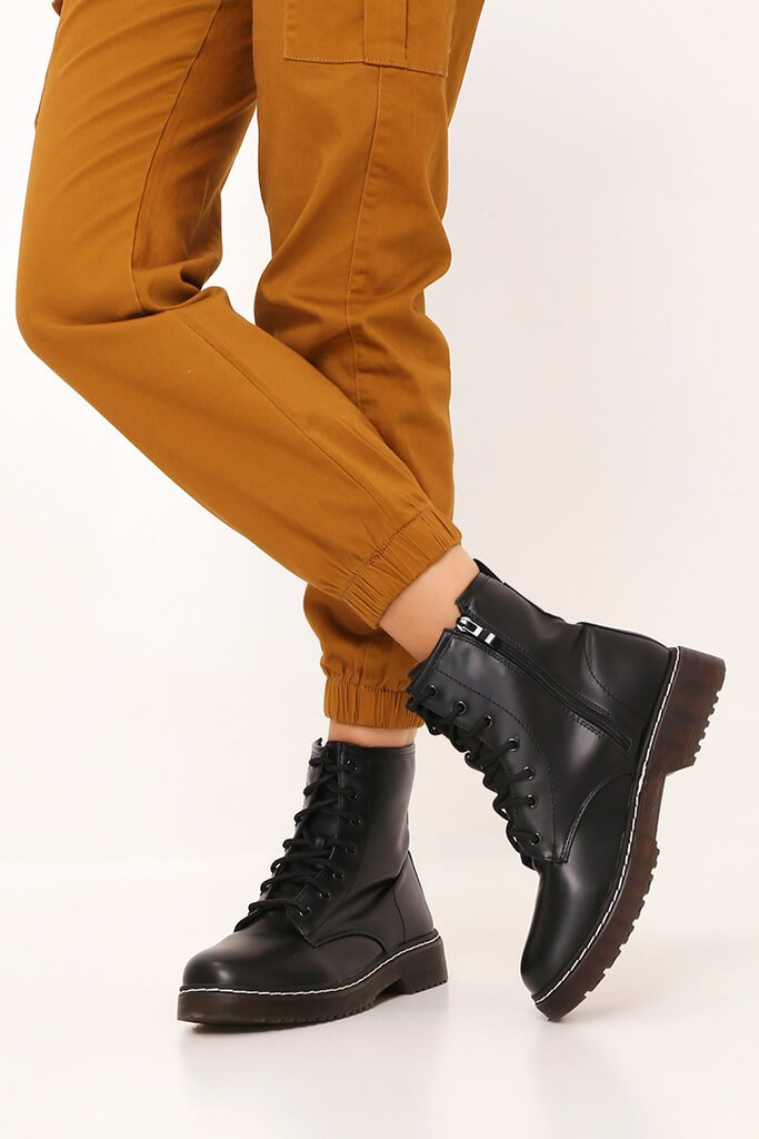 Black Chunky Military Lace Up Boots
