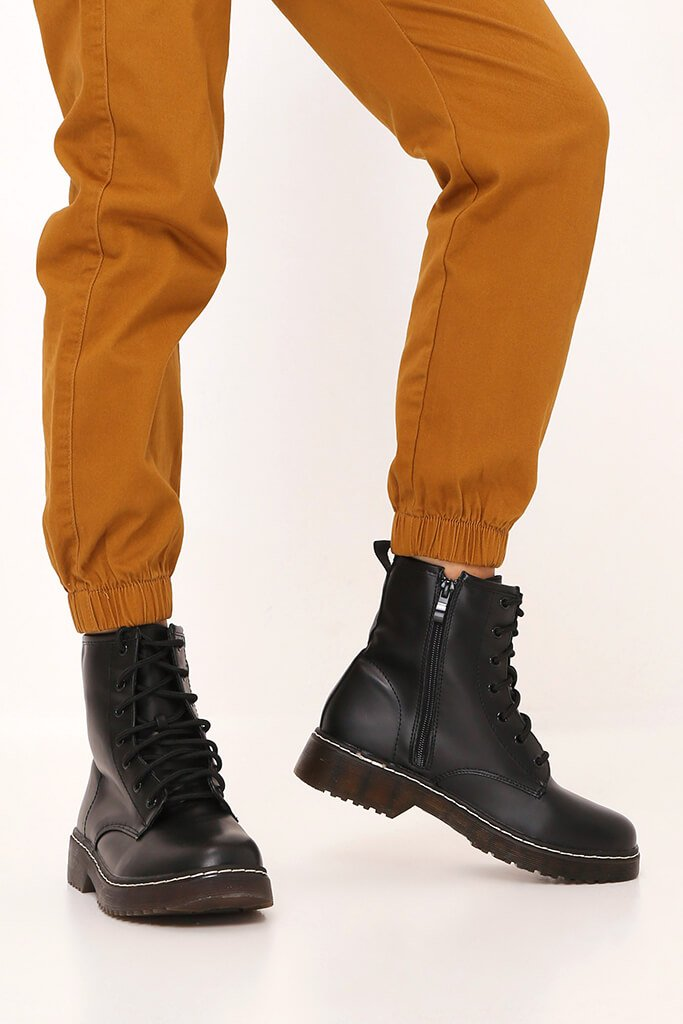 Black Chunky Military Lace Up Boots view 2