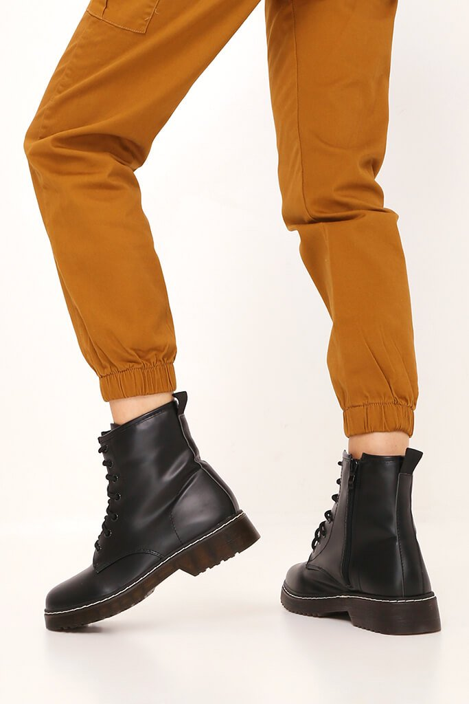 Black Chunky Military Lace Up Boots view 3
