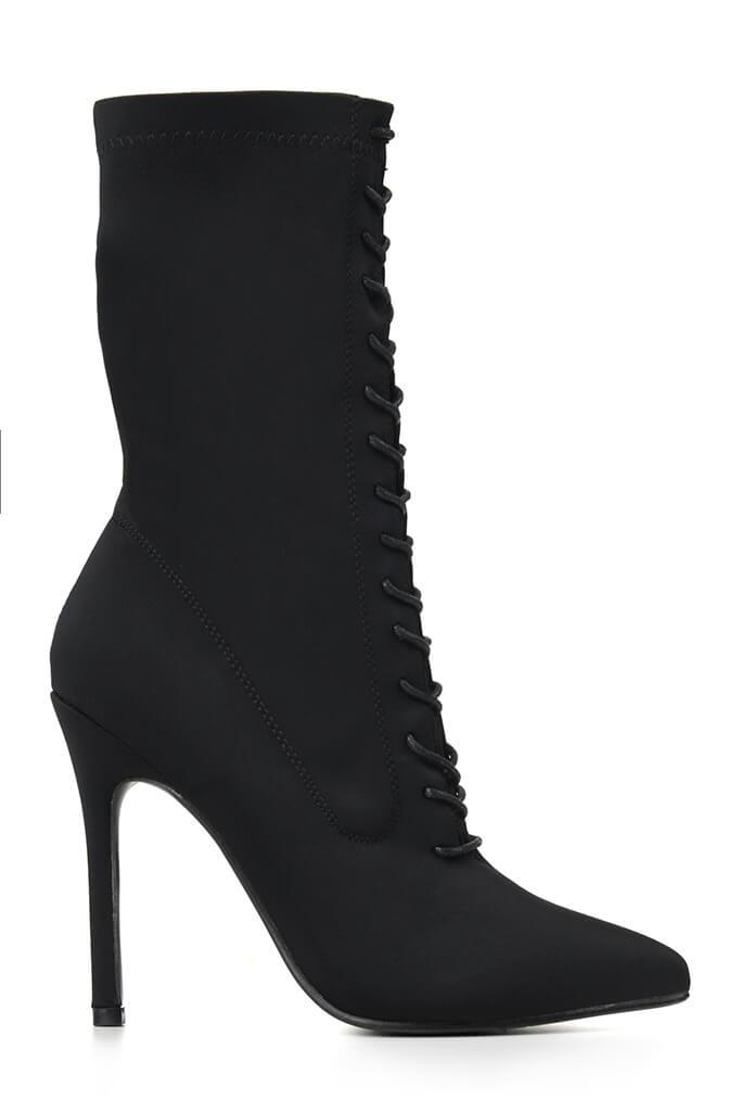 Black Lace Up Front Pointed Toe Sock Boots view 4