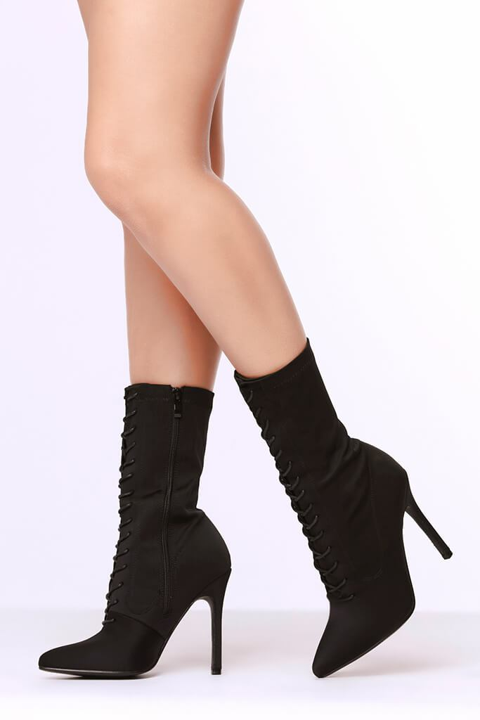 Black Lace Up Front Pointed Toe Sock Boots view 2