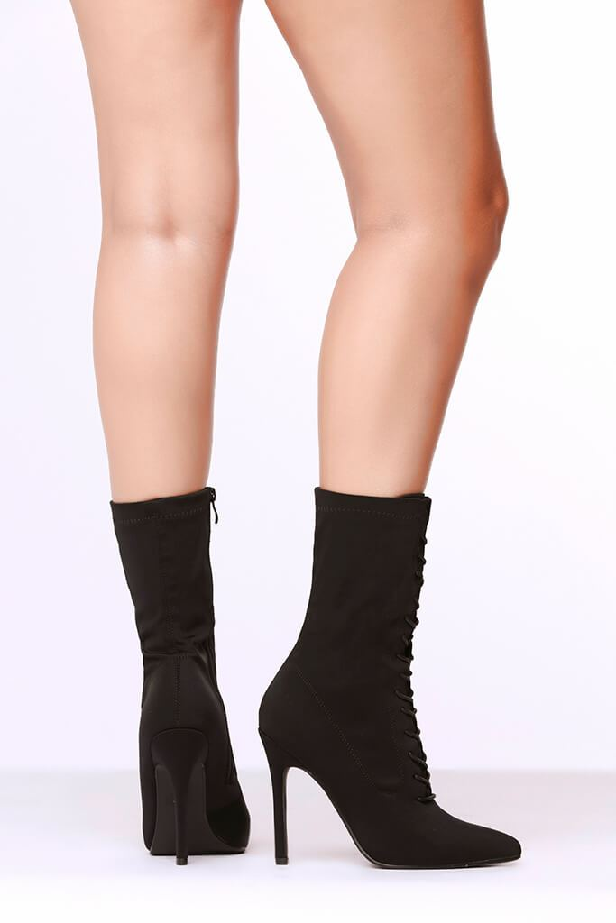 Black Lace Up Front Pointed Toe Sock Boots view 3