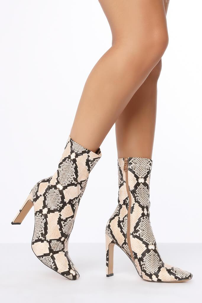 Multi Snake Print Thin Heel Ankle Boots view 2