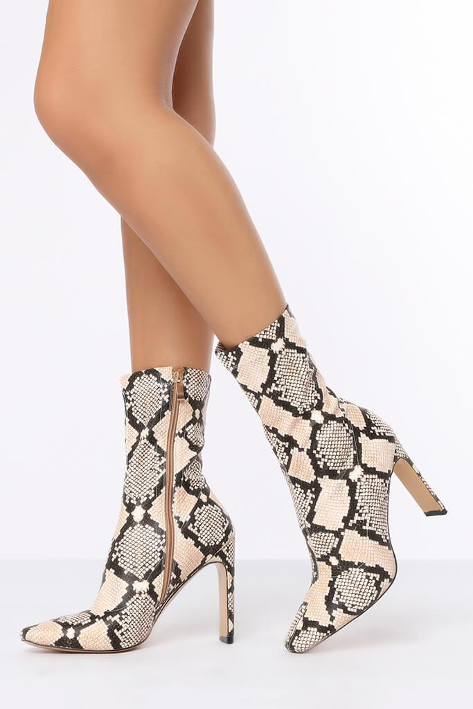 Multi Snake Print Thin Heel Ankle Boots view 3