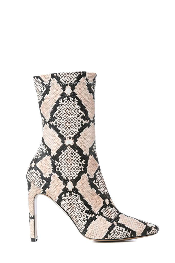Multi Snake Print Thin Heel Ankle Boots view 5